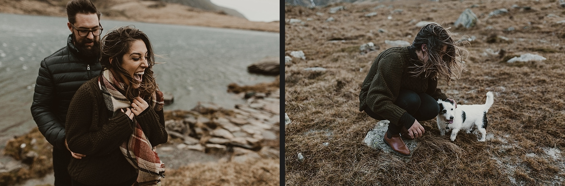 Laughing couple in snowdonia