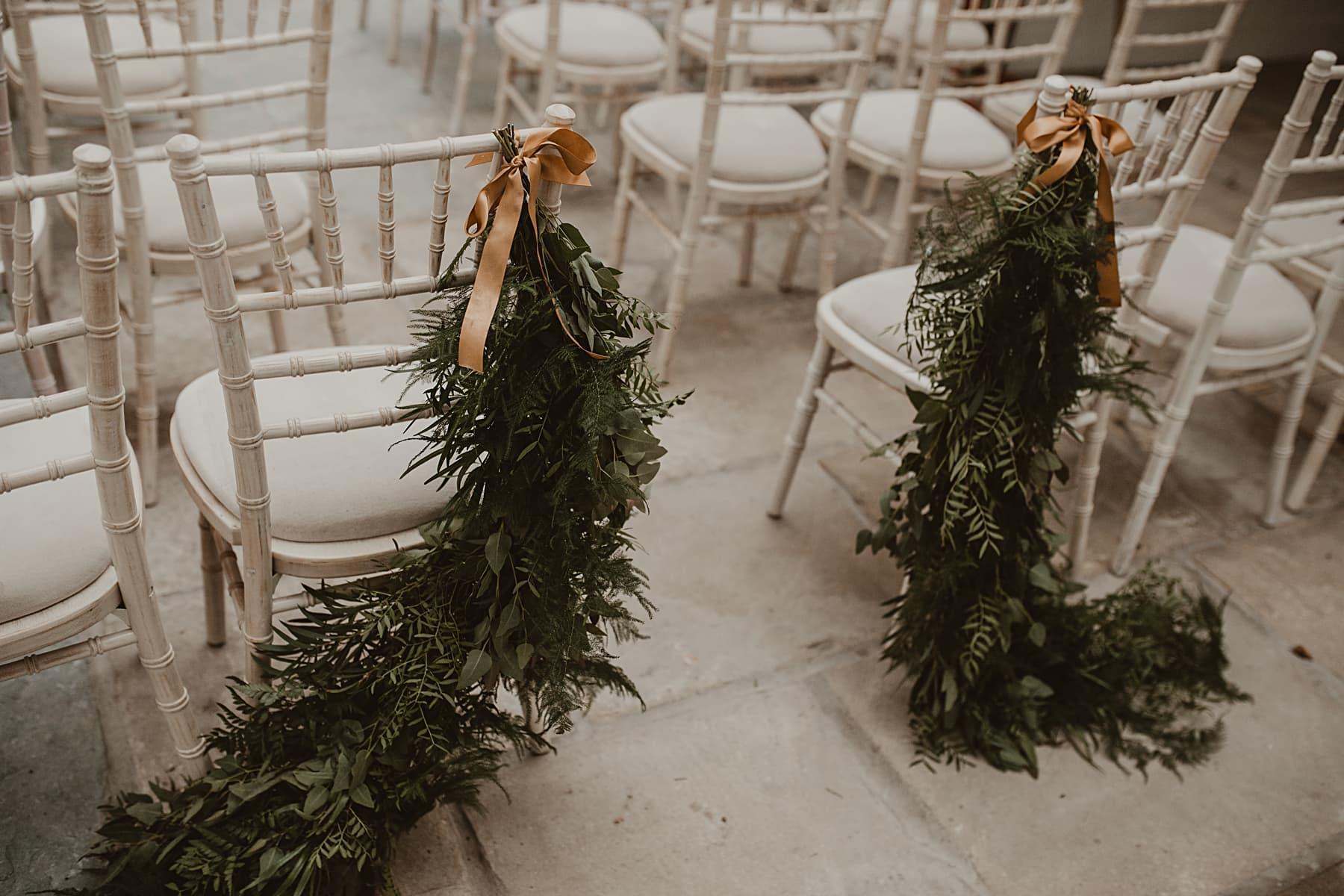 Foliage wedding chair decor